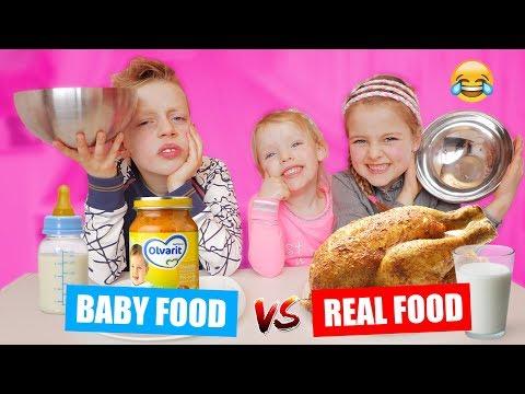 BABY FOOD vs REAL FOOD CHALLENGE!! ♥DeZoeteZusjes♥