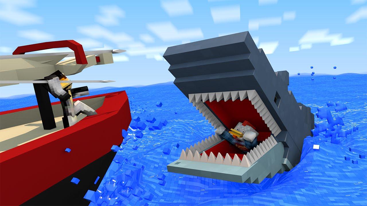 Jaws shark attack animated minecraft animation viyoutube for The atlantic craft minecraft