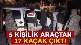 Van'da 5 Kişilik Araçtan 17 Kaçak Çıktı