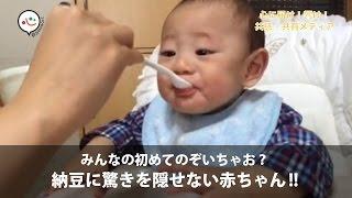 【はつまる!シリーズ】初めての納豆に驚きを隠せない赤ちゃん|@Heaaart(アットハート)
