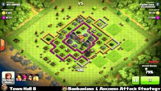 Clash of clans - Town Hall 8 Barbarians & Archers Strategy - 208k Loots Elixir farming
