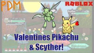PDM Roblox | Valentine's Pikachu and Scyther Catch! | Pokemon Brick Bronze