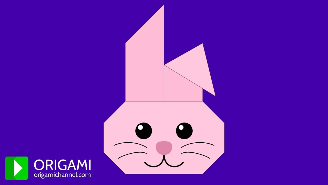 How To Make An Origami Bunny Face Rabbit Head Easy 3D Animated Tutorial 4K
