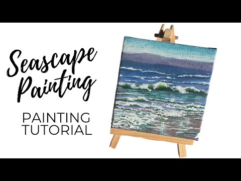 Seascape Acrylic Painting Tutorial/ Mini Canvas Painting