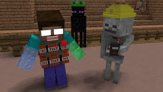 Monster School Magic Hats Fight Minecraft Animation