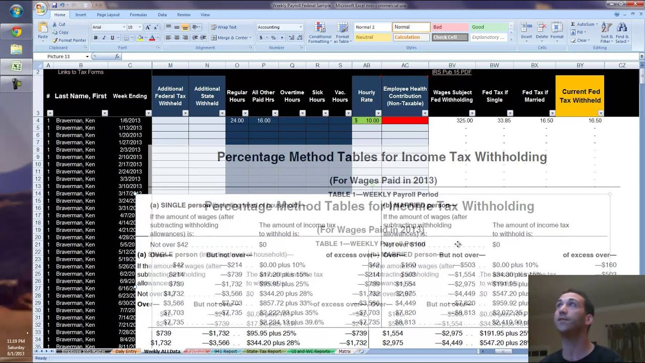 2013 payroll in excel calculate federal withholding using if formula youtube