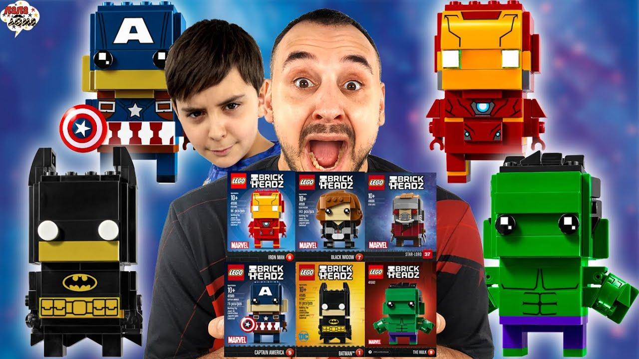 ПАПА РОБ И ЯРИК: LEGO BRICK HEADS - РАСПАКОВКА! СУПЕРГЕРОИ МАРВЕЛ!
