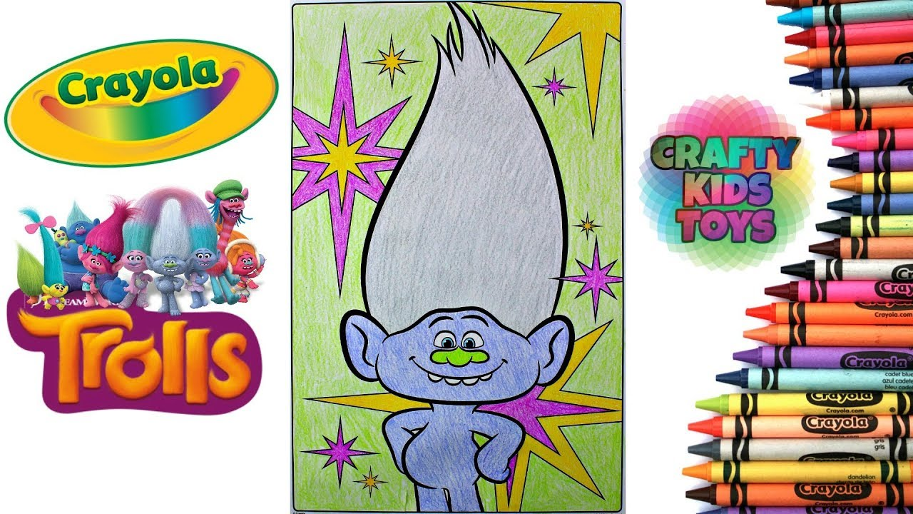 Trolls Crayola GIANT Coloring Pages Coloring Guy Diamond Troll - YouTube