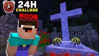 Minecraft NOOB : 24 HOURS IN THE CEMETERY CHALLENGE IN MINECRAFT! ANIMATION!