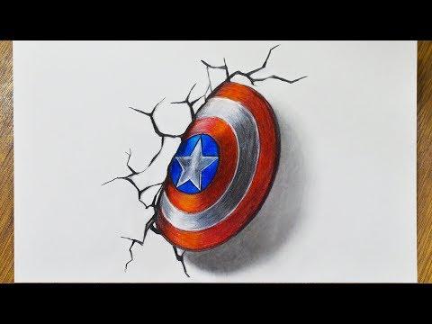 Как нарисовать 3д  Рисунок на бумаге Щит Капитана Америка