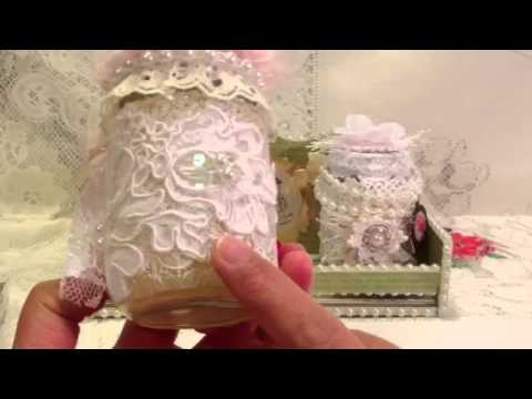 Altered Glass Jars in Shabby Chic Style