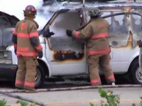 Evansville Indiana Close Call Magnesium Explosion Car Fire