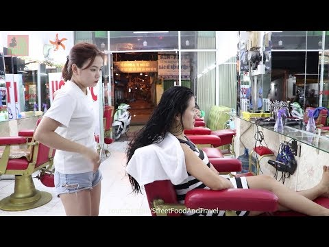 Vietnam Barber Shop Massage With Beautiful Girl 2019