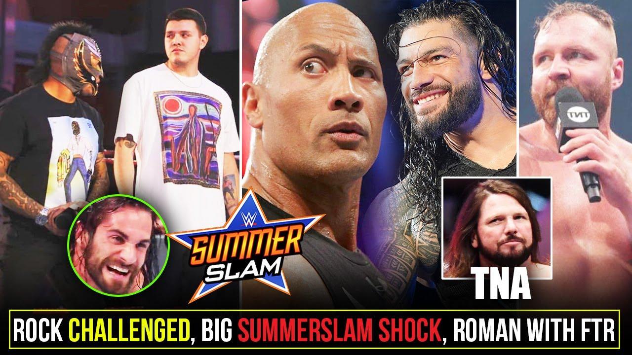 Big SummerSlam SHOCKER😲, Rock CHALLENGED*, Roman Reigns with FTR, AEW Vs NXT, AJ Styles on TNA,