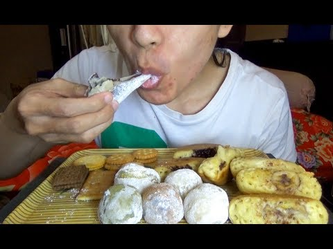 ASMR Eating Sound - Let's Eat Mochi + Pukis Cake + Biscuits + Coffee