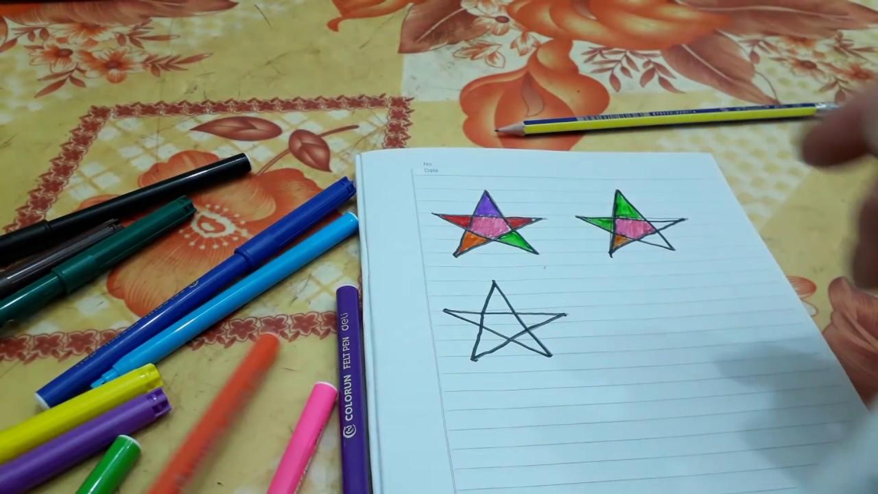 Vẽ ngôi sao 5 cánh với sáp màu p1. Draw the stars