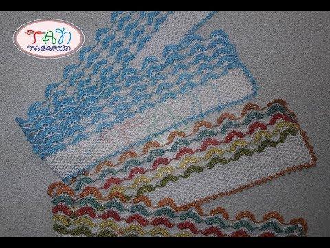Rengarenk Çeyizlik Havlu Kenarı dantel motifi, çeyizlik kolay havlu kenarı örneği