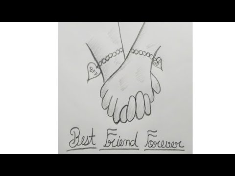 How to draw Best friends pencil Sketch, Best Friends Easy ...