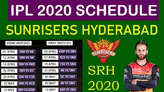 Sunrisers Hyderabad Full Schedule for IPL 2020 #SRH Fixtures and All Matches, Timings, Venues