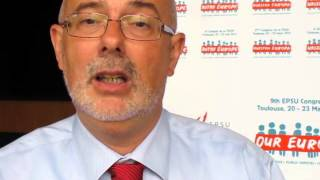 Ronald Janssen, ETUC, 1 minute video at EPSU Congress