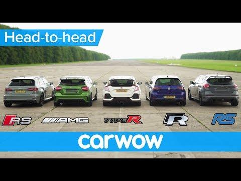 RS 3 v A45 AMG v Civic Type R v Golf R v Focus RS - DRAG & ROLLING RACE   Head-to-Head