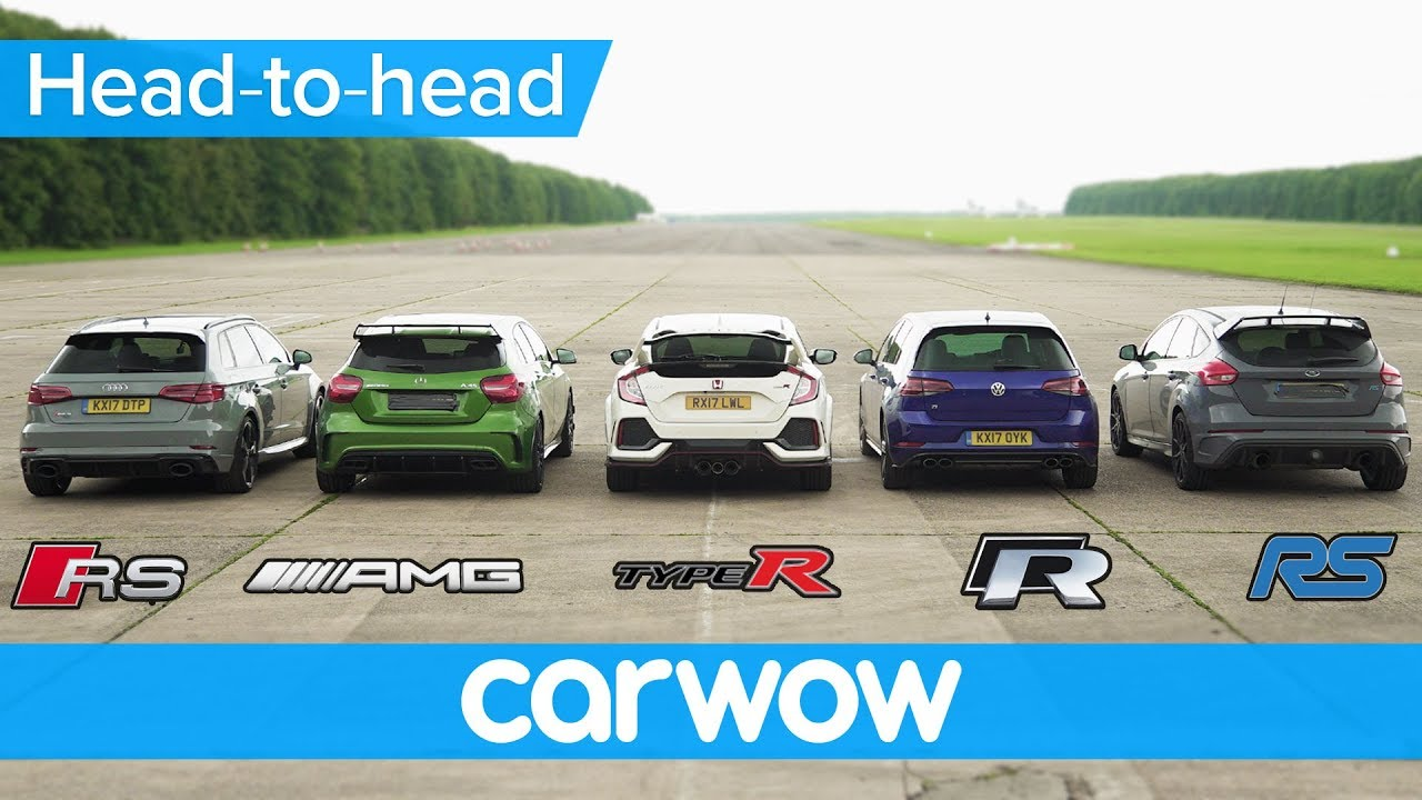 RS 3 v A45 AMG v Civic Type R v Golf R v Focus RS DRAG & ROLLING