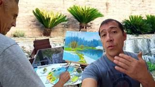 VLOG Живопись маслом от художника и Райский сад от Папа Потап для Чарли и Зои!