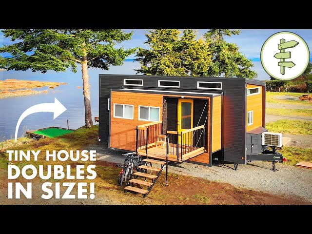 EXPANDING TINY HOUSE with Transforming Furniture & Modern Design