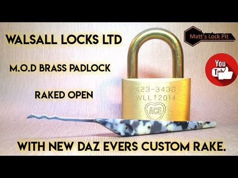 W.L.L m.o.d brass padlock raked open FAST with Daz Evers Custom Rake
