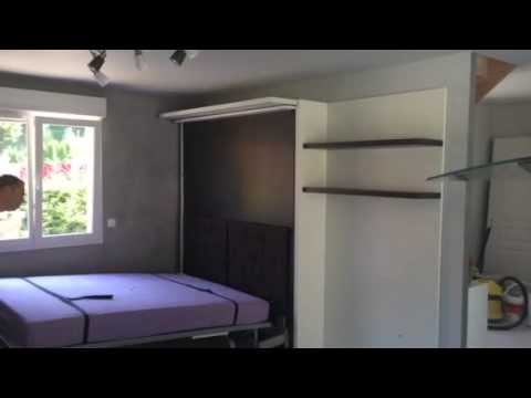 lit escamotable biblioth que pivotante youtube. Black Bedroom Furniture Sets. Home Design Ideas