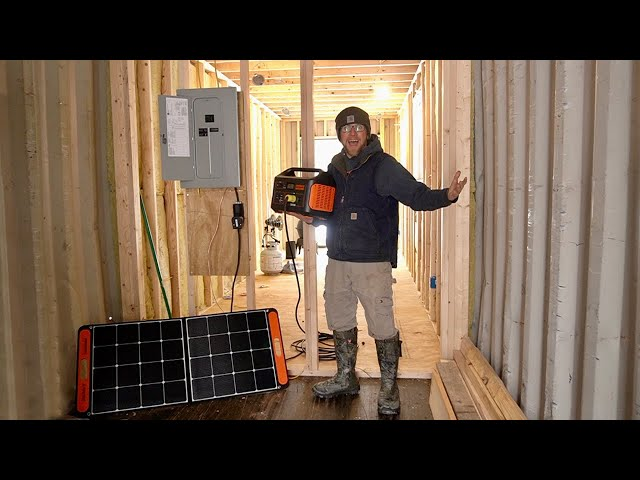 We DID It! POWERING Our OFF-GRID Shipping Container CABIN with a SOLAR GENERATOR
