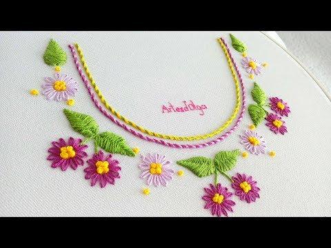 Hand Embroidery: Lazy daisy stitch neck design  Bordado a mano: Cuello con puntada margarita