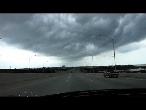 Driving across a bridge in Mississippi in a storm!