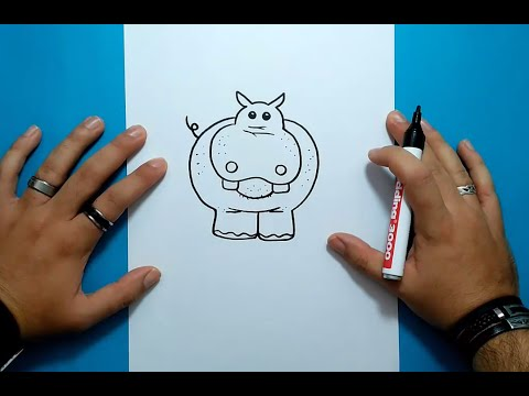 Como dibujar un hipopotamo paso a paso 2  How to draw a