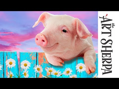 How to paint with Acrylic on Canvas adorable Pig with flowers