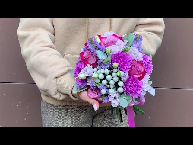 Лиловый свадебный букет