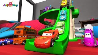 Learning Color Disney Cars Lightning McQueen mack truck parking tower slide Play for kids car toys