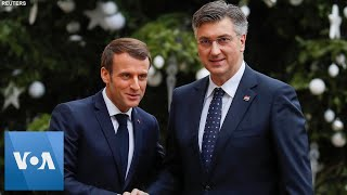France President Macron and Croatia Prime Minister Plenkovic Meet in Paris