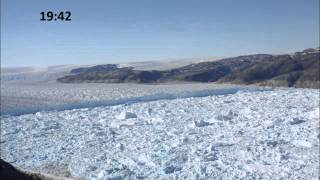 large calving event at helheim glacier in timelapse greenland 12 july 2010