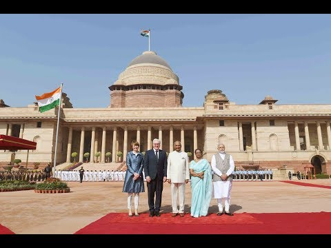 President Kovind accords ceremonial welcome to President Steinmeier of Germany at Rashtrapati Bhavan