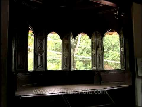 Padmanabhapuram Palace -  adorned with carved wooden ceilings, curved and slatted shuttered windows