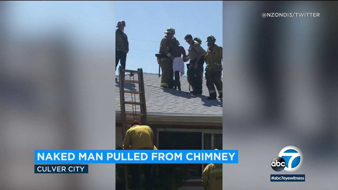 Naked burglar stuck in chimney of Culver City home | ABC7