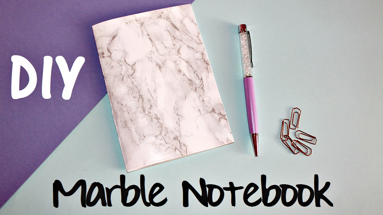 Diy Marble Book Cover : Diy marble notebook back to school youtube