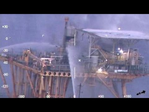 Four rescued in Gulf of Mexico after oil rig catches fire