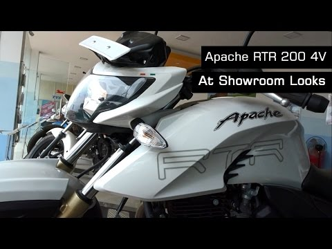 TVS Apache RTR 200 4V Review New Model White Color & Walk Around Video At Showroom | 2017 | India