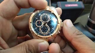 Titan watches for men rose gold silver black dial chronograph watch NH9308KM02A 9308KM02