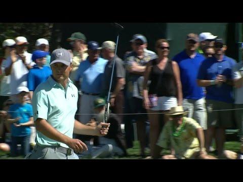 Jordan Spieth's excellent birdie putt on No. 14 at Valero