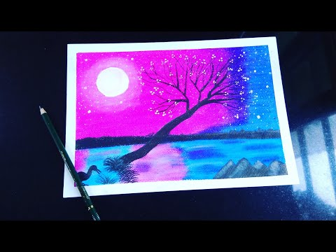 Easy Trick A Beautiful Moonlight night Landscape Drawing with Oil pastel Step By Step For Begginers