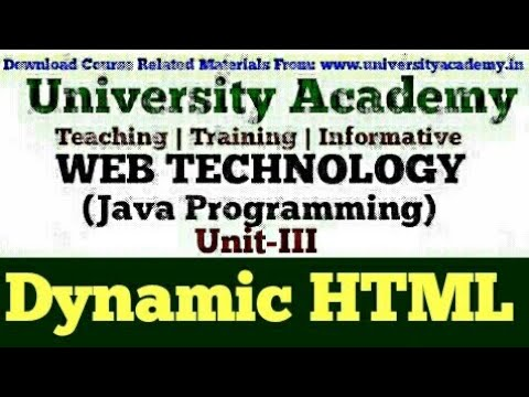 L44: JavaScript | Introduction To DHTML | What Is Dynamic HTML | HTML Vs DHTML | Hindi