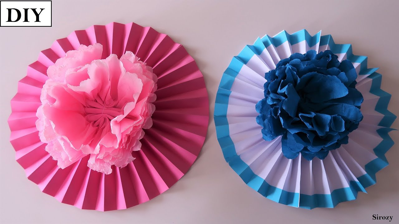 DIY Floral Decoration Fan   How To Make Paper Rosettes   Easy Birthday Decoration Ideas At Home